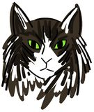 Sketch of a colorful cat face Royalty Free Stock Photo