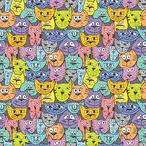 Sketch colorful cat pattern Stock Images
