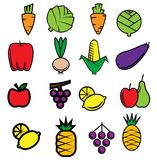 Sketch colorful fresh vegetables and fruits Stock Photos