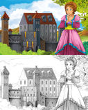 The sketch coloring page - artistic style fairy tale Royalty Free Stock Photos
