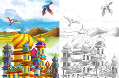 The sketch coloring page - artistic style fairy tale Stock Photos