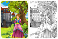 The sketch coloring page with preview - artistic style - illustration for the children Royalty Free Stock Images