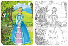 The sketch coloring page with preview - artistic style - illustration for the children Royalty Free Stock Photo