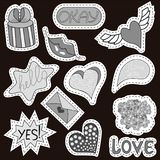 Sketch comics Set of stickers with hearts, speech bubbles, text cool, love, lightning, lips, rings, sunglasses. Girlish. Sketch comics Set of stickers with vector illustration