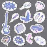 Sketch comics Set of stickers with hearts, speech bubbles, text cool, love, lightning, lips, rings, sunglasses. Girlish. Comic style. Fashion patch badges vector illustration