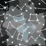 Sketch constellations and stars on artistic background Stock Photos