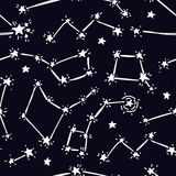 Sketch constellations and stars, black and white colors Stock Photos