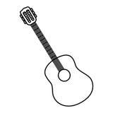 sketch contour acoustic guitar icon Stock Photo
