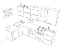 Sketch contour drawing of 3d contemporary corner kitchen interior black and white. Sketch of contemporary corner kitchen. 3d contour illustration. Black pencil Royalty Free Stock Image