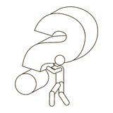 Sketch contour person carrying question mark. Illustration Royalty Free Stock Photo