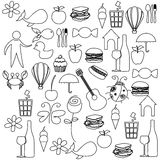 Sketch contour set elements daily life icon Royalty Free Stock Images