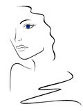 Sketch contour of woman head. Hand drawing vector illustration Royalty Free Stock Photo