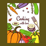 Sketch cooking card Stock Images