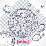 Sketch cornflakes with milk and berries Stock Image