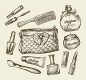 Sketch cosmetic bag, face cream, lipstick, perfume, comb, concealer Royalty Free Stock Image