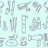 Sketch cosmetics pattern Stock Photo