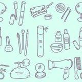 Sketch cosmetics pattern Stock Photo