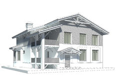 Sketch of the cottage with tiled roof Royalty Free Stock Photography