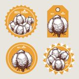 Sketch cotton labels Royalty Free Stock Photo