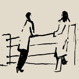 SKETCH.The couple. stock illustration