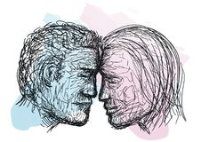 Sketch of couple faces Stock Images