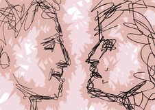 Sketch of couple faces Stock Photography