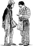 Sketch of a couple of sightseers vector illustration