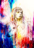 Sketch of courageous young woman with unicorn on abstract spotted background. Stock Photo