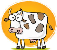 Sketch Cow. Sketch style cartoon illustration of Cow with Orange background stock illustration