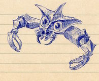 Sketch of a crab creature. Blue sketch of a creature with crab claws. Ballpoint pen on lined paper Royalty Free Stock Photos