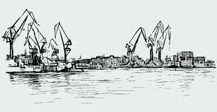 Sketch of the cranes in the seaport. Vector drawing of the industrial seaport Royalty Free Stock Photography