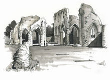Sketch of Creake Abbey, Norfolk, UK. Pen and marker sketch of Creake Abbey, Burnham Thorpe in Norfolk, England Royalty Free Stock Image