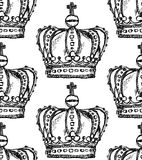 Sketch crown, vector vintage seamless pattern Stock Photography