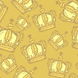 Sketch crown, vector vintage seamless pattern Royalty Free Stock Photos