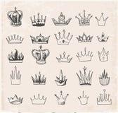 Sketch crowns collection. Stock Photos