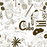Sketch Cuban seamless pattern Royalty Free Stock Photos