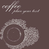 Sketch of cup of coffee. With coffee beans royalty free illustration
