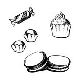 Sketch of cupcake, macaron, truffles and candy Royalty Free Stock Photography