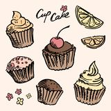 Sketch cupcake set Stock Image