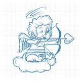 Sketch cupid shoots of bow Royalty Free Stock Image