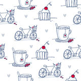 Sketch cups, bicycles and cupcakes, vector seamless pattern Stock Photos