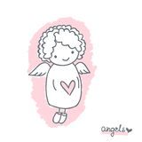 Sketch with cute angel Stock Photos