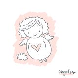 Sketch with cute angel Stock Images