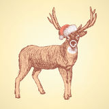 Sketch cute deer in vintage style. Vector Royalty Free Stock Photo