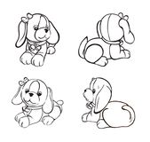 Sketch cute doggy from different angles. Gift card with dog.  Little nice puppy.Dog with  bow Stock Image