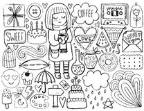 Sketch cute elements Stock Images