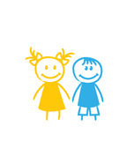 Sketch Cute Funny Girl and Boy Stock Images