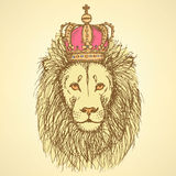 Sketch cute lion with crown in vintage style Stock Photos