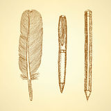 Sketch cute pen, feather and pencil in vintage style Royalty Free Stock Image