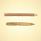 Sketch cute pen and pencil in vintage style Stock Photo